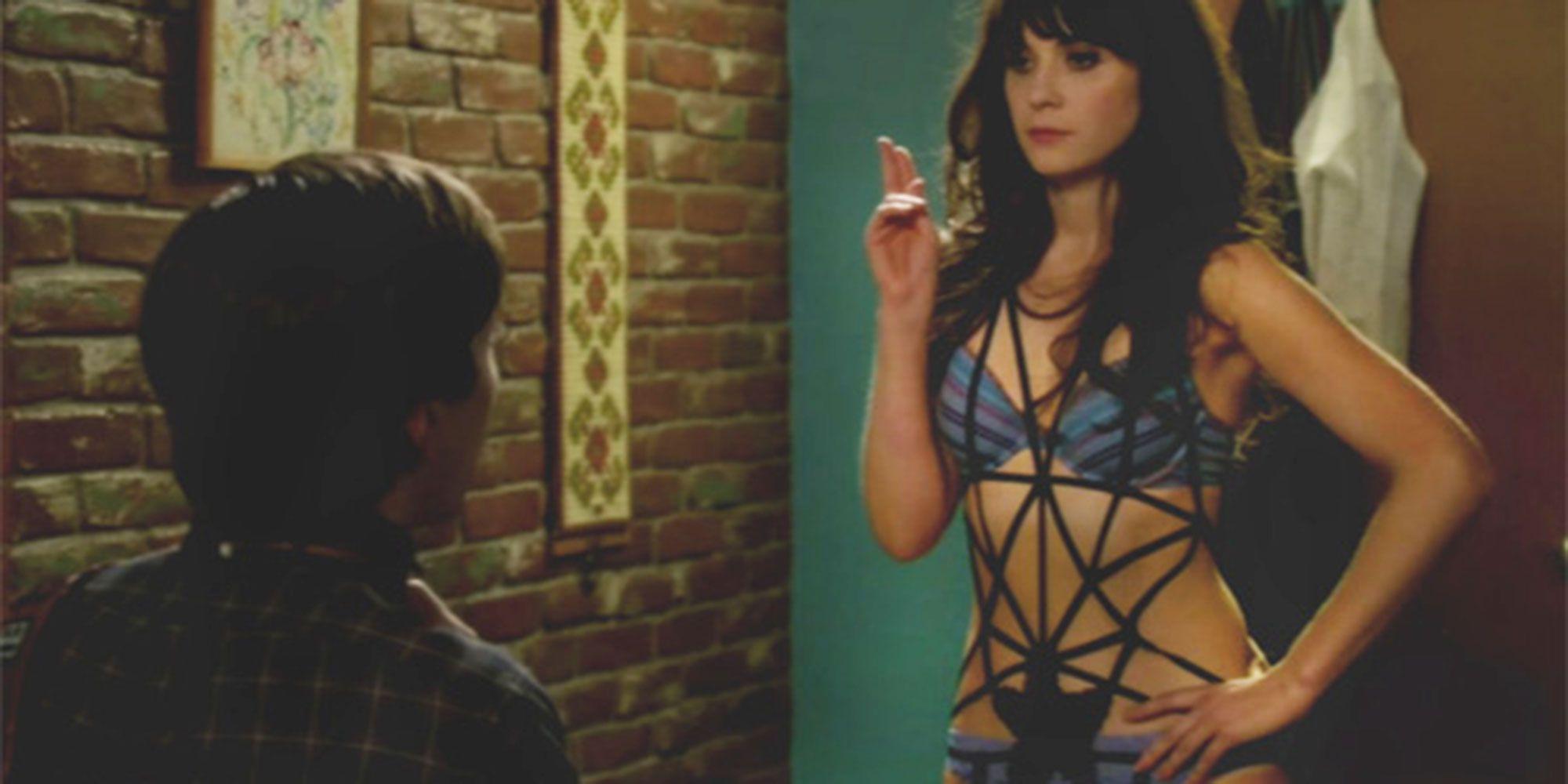 Jess in New Girl wearing lingerie