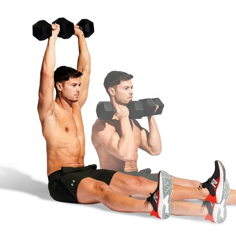 Weights, Exercise equipment, Shoulder, Dumbbell, Arm, Muscle, Abdomen, Physical fitness, Joint, Kettlebell,