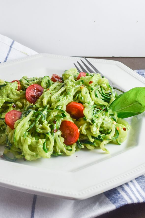 Vegan Avocado Pesto Zucchini Noodles