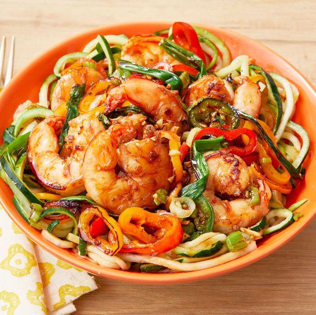 shrimp stir fry with zucchini noodles