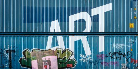 Blue, Street art, Graffiti, Wall, Mural, Art, Font, Architecture, Facade, Street,