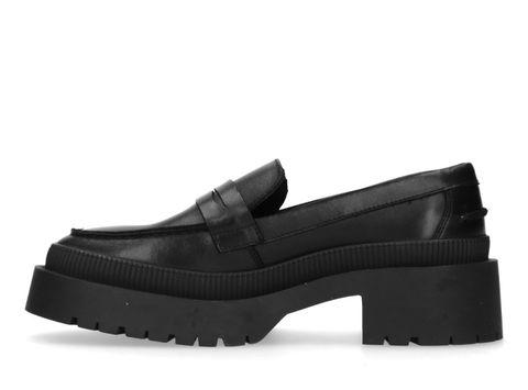 zwarte loafer met plateauzool, platform, sacha, leer, hak