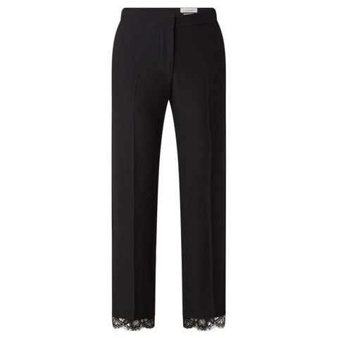 Straight fit cropped pantalon met kant