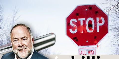 Eyebrow, Stop sign, Text, Traffic sign, Collar, Coat, Facial hair, Beard, Font, Suit,