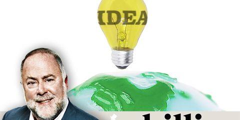 Logo, Beard, Facial hair, Blazer, World, Moustache, White-collar worker, Incandescent light bulb, Light bulb, Advertising,