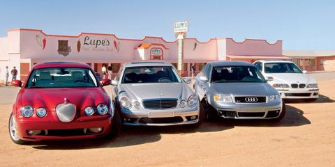 2003 jaguar s type r, bmw m5, audi rs6, and mercedes benz e55 amg
