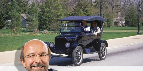 Glasses, Automotive design, Shirt, Classic car, Automotive exterior, Fender, Dress shirt, Beard, Facial hair, Antique car,