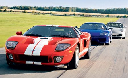 2005 ford gt, 2004  ferrari challenge stradale, 2004 porsche 911 gt3