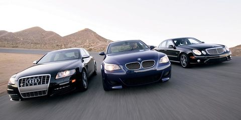 2007 audi s6, 2007 bmw m5, and 2007 mercedes benz e63 amg