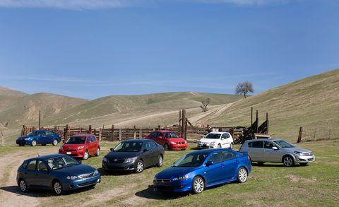2009 mitsubishi lancer gts, 2008 ford focus se, 2008 subaru impreza 25i, 2007 suzuki sx4 sport, 2009 toyota corolla, 2008 saturn astra xr, 2008 volkswagen rabbit s, and 2008 scion xd