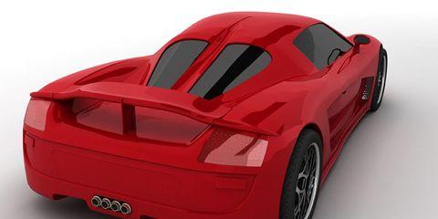 Automotive design, Automotive exterior, Red, Automotive lighting, Fender, Supercar, Sports car, Bumper, Black, Rim,