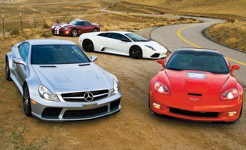 corvette zr1 vs viper srt10, murciélago lp640, sl65 amg black series