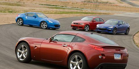 Nissan 370Z vs  BMW 135i, Mazda RX-8 R3, and Pontiac