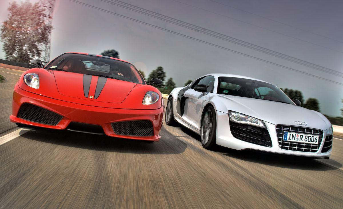 2010 Audi R8 5 2 V10 Fsi Quattro Vs 2009 Ferrari 430 Scuderia