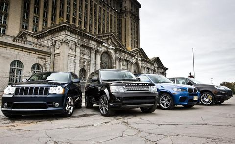 2010 jeep grand cherokee srt8, land rover range rover sport supercharged, bmw x5 m, and 2009 porsche cayenne turbo s