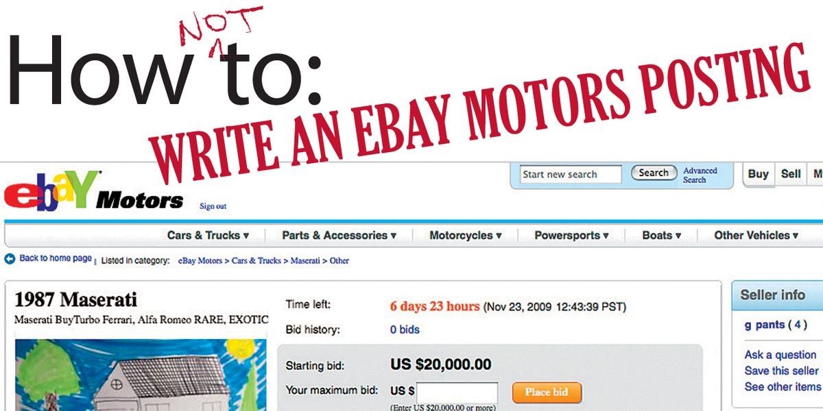 How Not To Write An Ebay Motors Posting