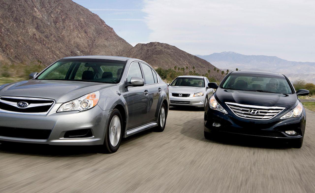 2010 Honda Accord Ex Vs 2017 Hyundai Sonata Se Subaru Legacy 2 5i 8211 Comparison Test Car And Driver