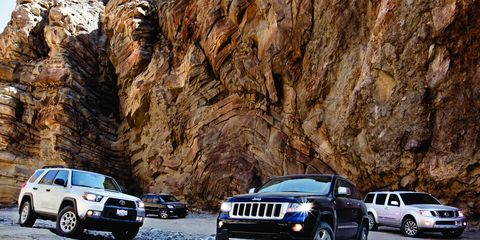 Jeep Grand Cherokee vs  Kia Borrego, Nissan Pathfinder