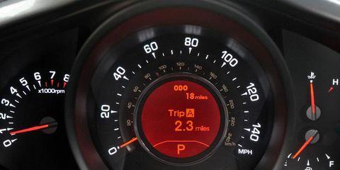 Mode of transport, Red, Speedometer, Gauge, Orange, Trip computer, Carmine, Measuring instrument, Odometer, Tachometer,