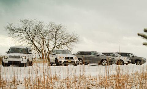 2011 bmw x5 xdrive35i, 2011 land rover lr4 hse, 2011 audi q7 30t sline, 2011 acura mdx, and 2010 lexus gx460