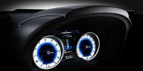 Motor vehicle, Gauge, Speedometer, Electric blue, Measuring instrument, Luxury vehicle, Vehicle audio, Tachometer, Machine, Steering part,