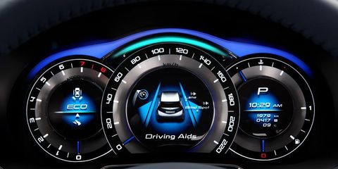 Speedometer, Gauge, Electric blue, Luxury vehicle, Trip computer, Measuring instrument, Personal luxury car, Tachometer, Center console, Mid-size car,