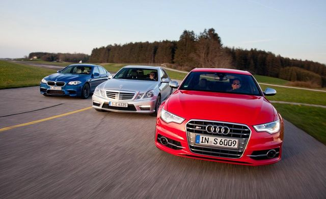 2012 mercedes benz e63 amg, 2013 audi s6, and bmw m5