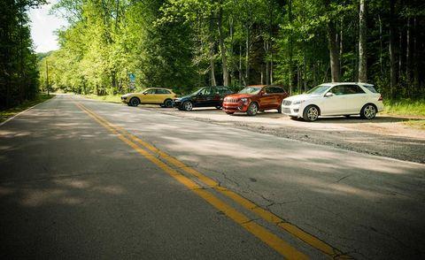 2012 porsche cayenne turbo, bmw x5 m, jeep grand cherokee srt8, and mercedes benz ml63 amg