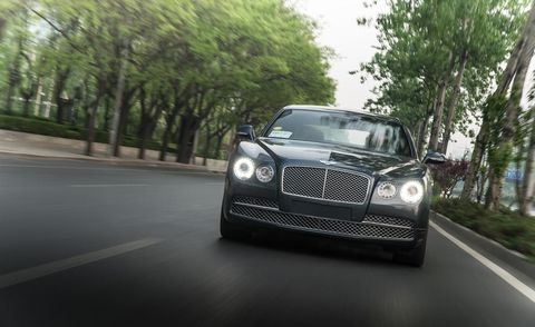 Road, Automotive design, Automotive lighting, Grille, Headlamp, Hood, Road surface, Automotive exterior, Car, Bentley,