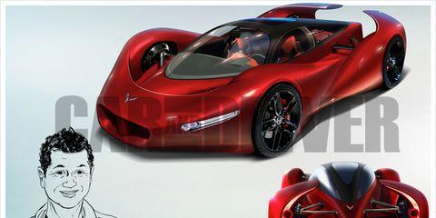 Land vehicle, Vehicle, Automotive design, Car, Sports car, Red, Supercar, Race car, Concept car, Coupé,