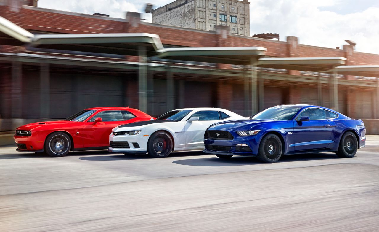 2015 ford mustang gt vs chevrolet camaro ss 1le dodge challenger r t scat pack comparison test car and driver