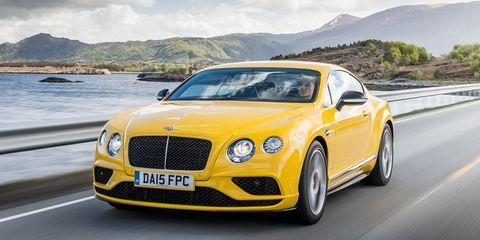 Mode of transport, Road, Yellow, Automotive design, Grille, Bentley, Car, Hood, Rim, Fender,