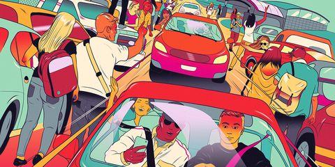 Motor vehicle, Mode of transport, Automotive design, Art, Vehicle door, Illustration, Painting, Hood, Animated cartoon, Animation,