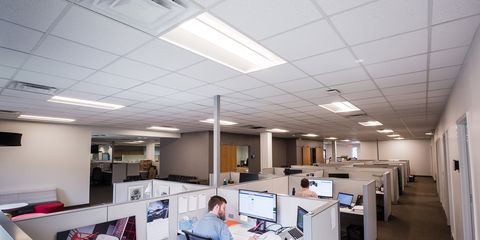 Office, Building, Ceiling, Room, Interior design, Architecture, Furniture, Daylighting, Floor, Space,