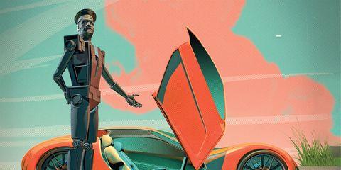 Motor vehicle, Vehicle, Mode of transport, Automotive design, Illustration, Car, Art, Fictional character, Wheel,