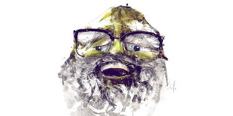 Face, Illustration, Head, Facial hair, Nose, Beard, Drawing, Sketch, Glasses, Snout,