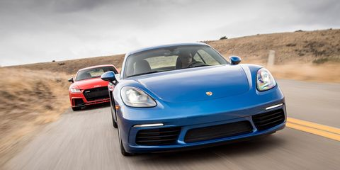 Audi TT RS vs  Porsche 718 Cayman S | Comparison Test | Car and Driver