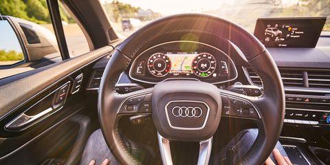 Vehicle, Steering wheel, Steering part, Motor vehicle, Car, Luxury vehicle, Automotive design, Audi, Center console, Executive car,