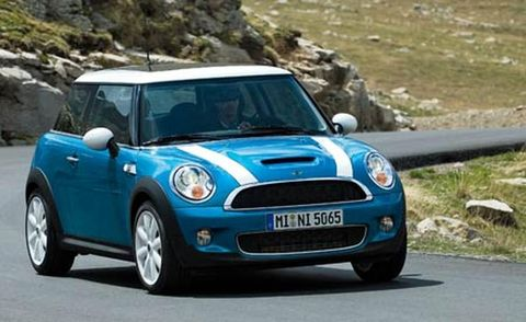 Automotive design, Blue, Vehicle, Land vehicle, Road, Infrastructure, Car, Vehicle door, Photograph, Mini cooper,