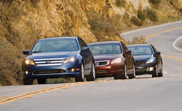 2010 ford fusion se, 2009 honda accord ex l sedan, and 2009 mazda 6 i touring