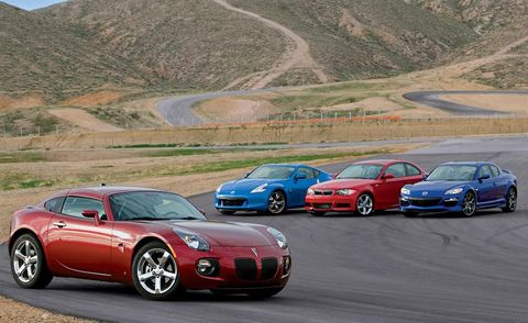 2009 pontiac solstice gxp coupe 2009 nissan 370z, 2009 bmw 135i coupe, and 2009 mazda rx 8 r3