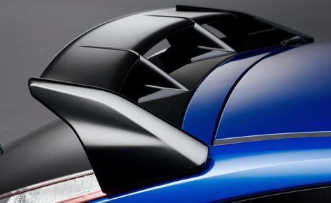 Automotive design, Automotive exterior, Hood, Electric blue, Luxury vehicle, City car, Sports car, Supercar, Spoiler, Kit car,