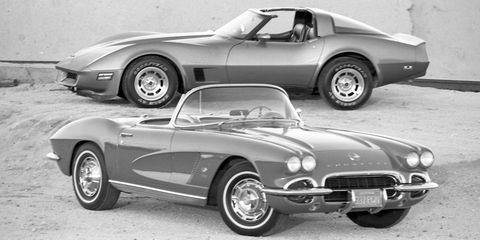 1962 and 1982 corvettes