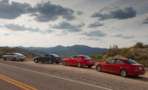 2009 acura tl sh awd, 2009 infiniti g37 sport sedan, 2009 audi a4 20t quattro sedan, and 2009 bmw 328i sedan