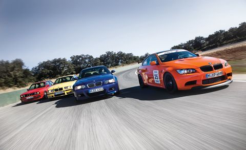 four generations of bmw m3 on the track