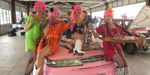Automotive exterior, Pink, Bumper, Hat, Magenta, Trunk, Vehicle door, Hood, Vehicle registration plate, Costume,