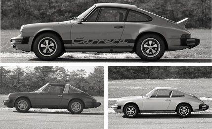 1974 Porsche 911 vs  911S Targa vs  911S Carrera archived test