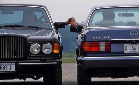 bmw 750il vs mercedes benz 560sel, lexus ls400, bentley turbo r grey poupon