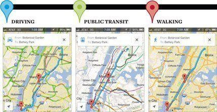 Google Maps Comparo: Public Transit vs. Driving vs. Walking Across ...