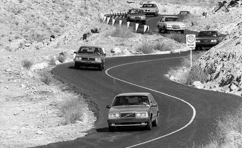 1982 audi 5000s, 1982datsun maxima, 1983 dodge 600es, 1983 pontiac 6000ste, 1983 saab 900 turbo, 1982 toyota cressida, 1984 vw quantum, and 1983 volvo 760gle